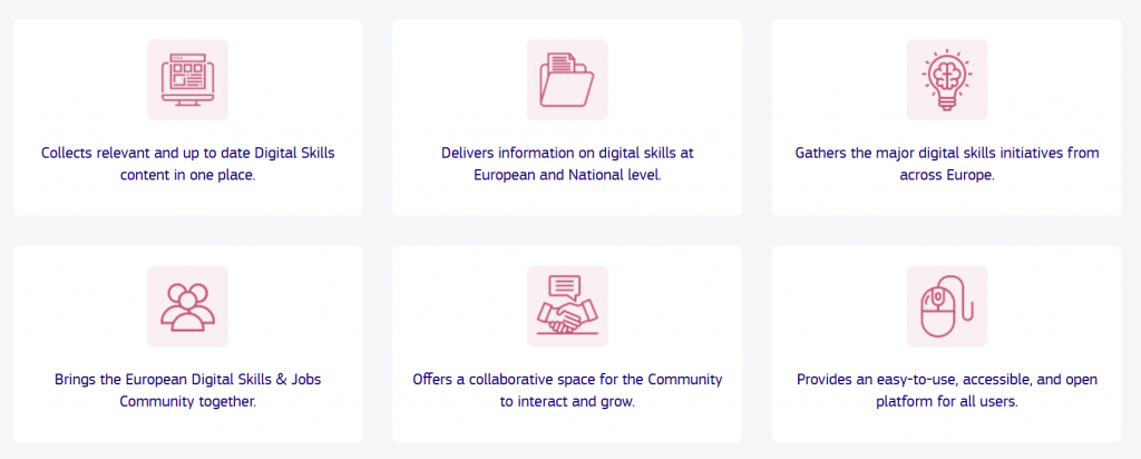 Digital Skills and Jobs Platform provides open access to high quality information, training and support to help users advance their knowledge, further their careers, and add value to their organisation.